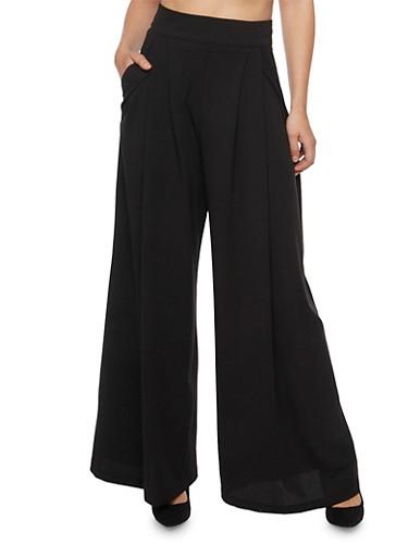 Pleated Wide Leg Pants,BLACK,large