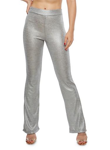 Metallic Knit Flared Pants,SILVER,large
