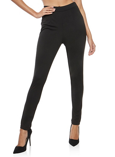 Pleated Front Skinny Pants,BLACK,large