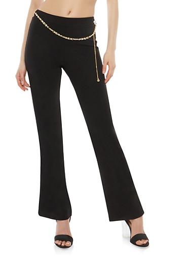 Faux Pearl Chain Dress Pants,BLACK,large