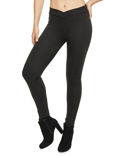 Leggings with V Waist Detail,BLACK,large