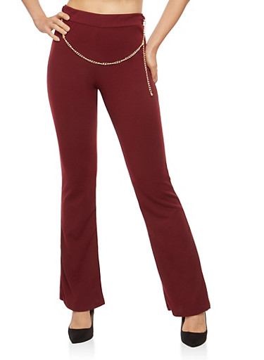 Crepe Knit Chain Belt Flared Pants,WINE,large