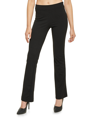 Stretch Knit Flared Pants,BLACK,large