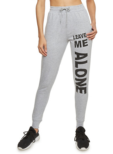 Leave Me Alone Graphic Drawstring Joggers,HEATHER,large