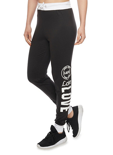 Love Graphic Joggers with Contrast Trim,BLACK,large