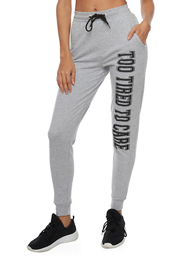 Fleece Joggers with Too Tired To Care Graphic,HEATHER,large