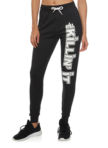 Fleece Joggers with Still Killin It Graphic,BLACK,large