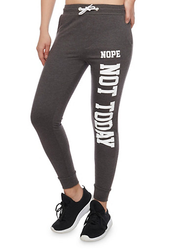 Fleece Joggers with Nope Not Today Graphic,CHARCOAL,large