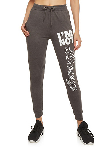 Graphic I'm Not Bossy Drawstring Joggers,CHARCOAL,large