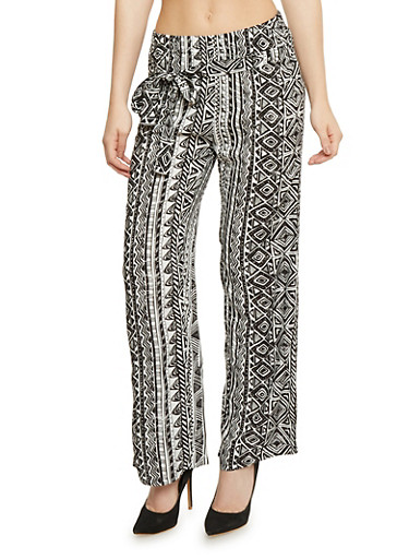 Printed Tie Front Palazzo Pants,BLACK/WHITE,large