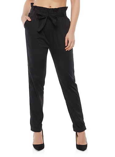Tie Front Roll Cuff Poplin Pants,BLACK,large