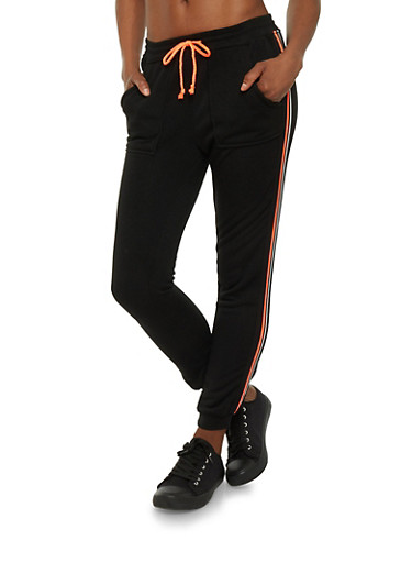 Fleece Joggers with Stripes,BLACK,large