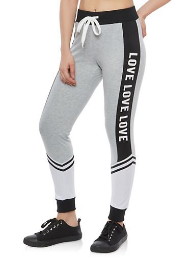 Color Block Love Graphic Sweatpants,BLACK,large