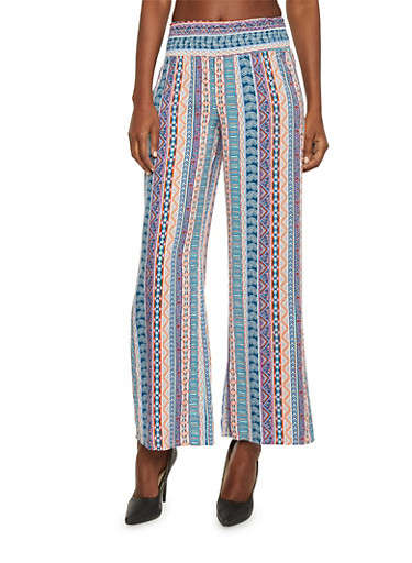 Mid Rise Aztec Print Palazzo Pants,TURQUOISE,large