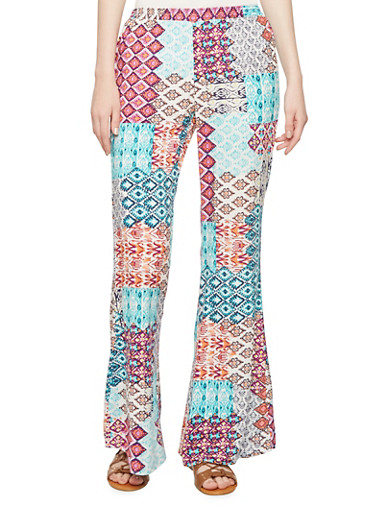 Multicolored Aztec Print Palazzo Pants with Elasticized Waist,TURQUOISE,large