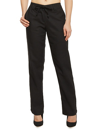 Tie Waist Belted Linen Pants,BLACK,large