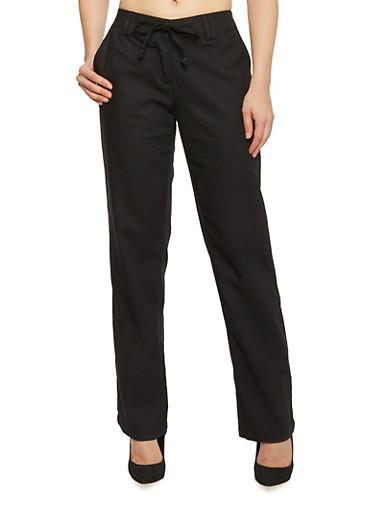 Tie Waist Belted Linen Pants,BLACK,large