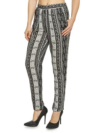 Aztec Print Zip Pocket Pants,BLACK/WHITE,large