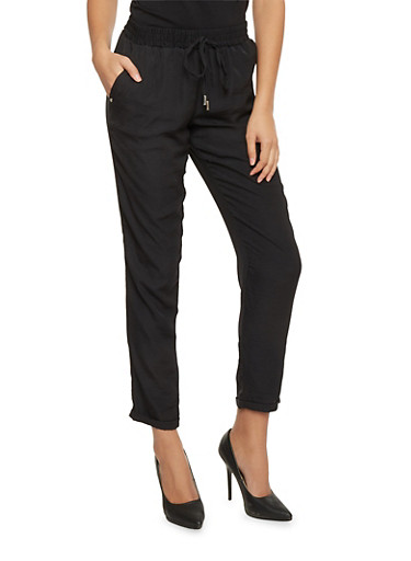 Smock Waist Roll Cuff Satin Pants,BLACK,large