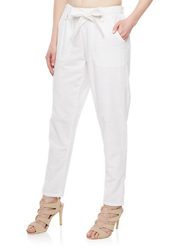 Casual Linen Pants with Pork Chop Pockets,WHITE,large