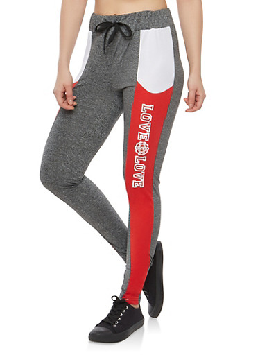 Color Block Love Graphic Activewear Leggings,CHARCOAL,large