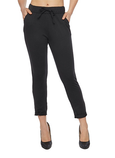 Skinny Fixed Cuff Sweatpants with Drawstring,BLACK,large