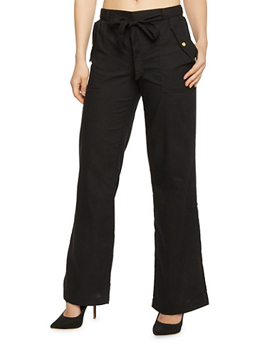 Linen Straight Leg Casual Pants with Flap Over Pockets,BLACK,large