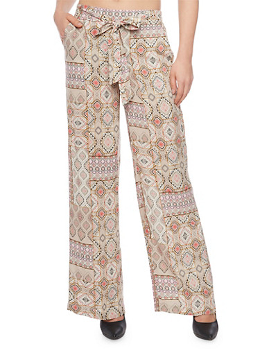 Printed Palazzo Pants with Front Sash,SAND,large