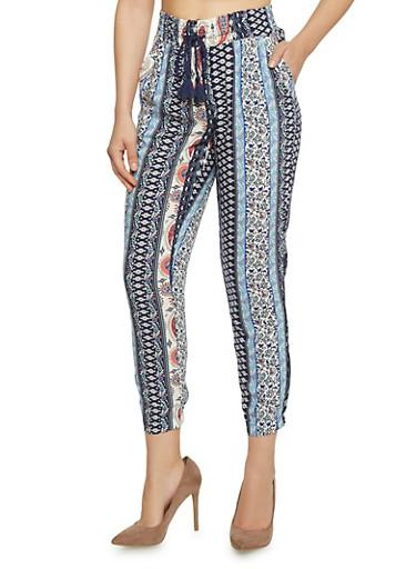 Printed Drawstring Jogger Pants,NAVY,large