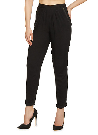 Casual Pleated Joggers with Side Zip Pockets,BLACK,large