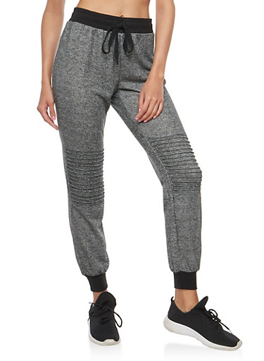 Marled Moto Sweatpants,BLK/HTHR,large