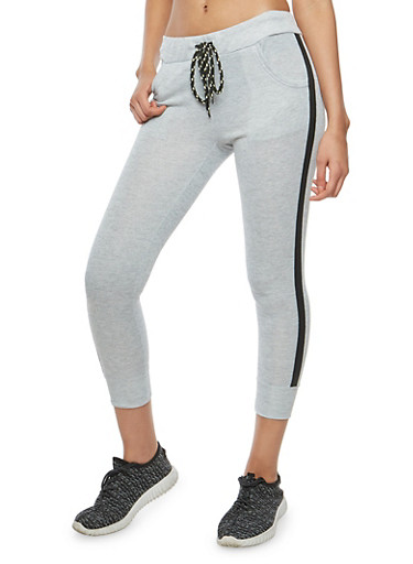 Side Stripe Cropped Joggers,LT GREY,large