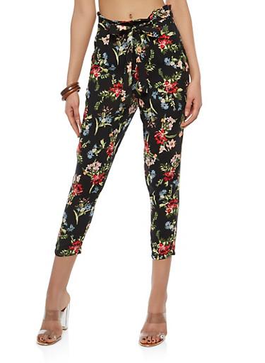 Tie Front Printed Crop Pants,BLACK,large