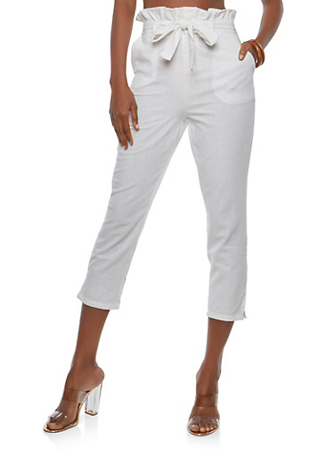 Ruffle Waist Belted Trousers,WHITE,large
