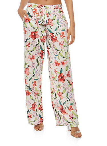 Floral Tie Front Palazzo Pants,IVORY,large