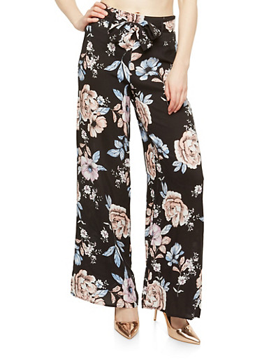 Floral Tie Front Palazzo Pants,BLACK,large