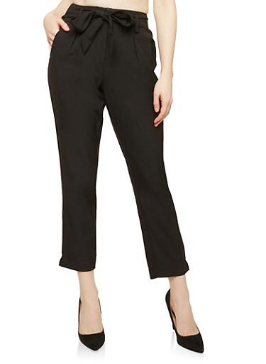 Tie Front Dress Pants,BLACK,large