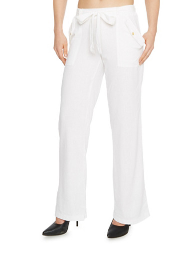 Casual Linen Tie Front Pants with Pork Chop Pockets,WHITE,large