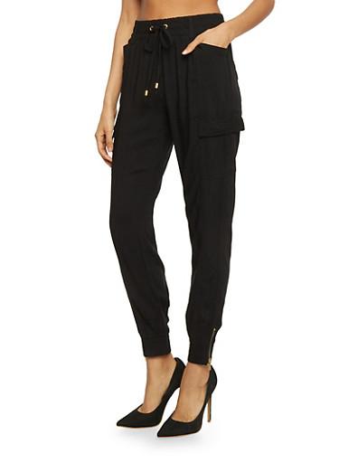 Lightweight Drawstring Cargo Pants,BLACK,large