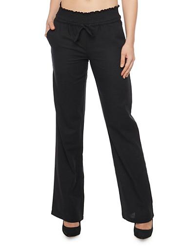 Linen Smocked Waist Drawstring Pants,BLACK,large