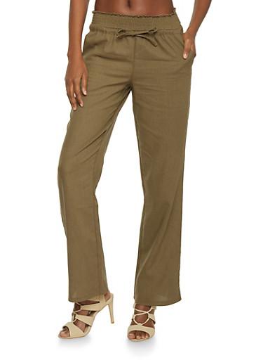 Linen Smocked Waist Drawstring Pants at Rainbow Shops in Jacksonville, FL | Tuggl
