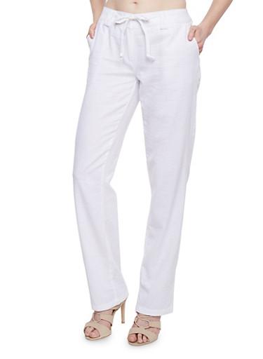 Tie Front Double Loop Linen Pants,WHITE,large
