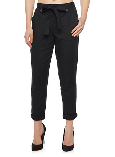Classic Cuffed Linen Pants With Tie Belt,BLACK,large