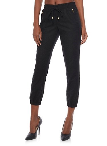 Drawstring Linen Joggers with Gold Zipper Accents,BLACK,large