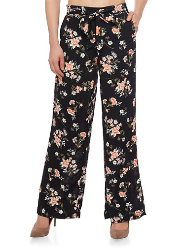 Belted Floral Print Palazzo Wide Leg Pants,BLACK,large