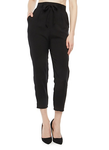 Soft Knit Tie Waist Pants,BLACK,large