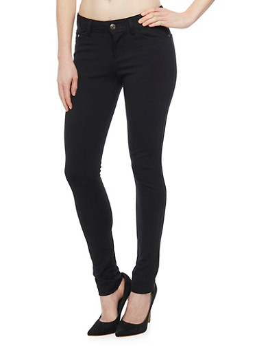 Classic Solid Skinny Jeggings,BLACK,large