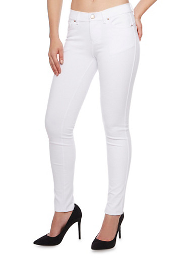 Solid Knit Jeggings,WHITE,large