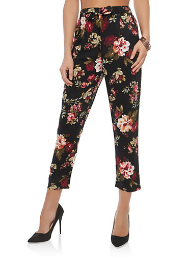 Floral Tie Front Casual Pants,BLACK,large