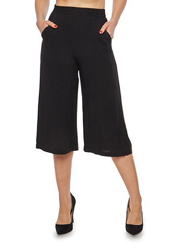 Solid Cropped Palazzo Pants,BLACK,large